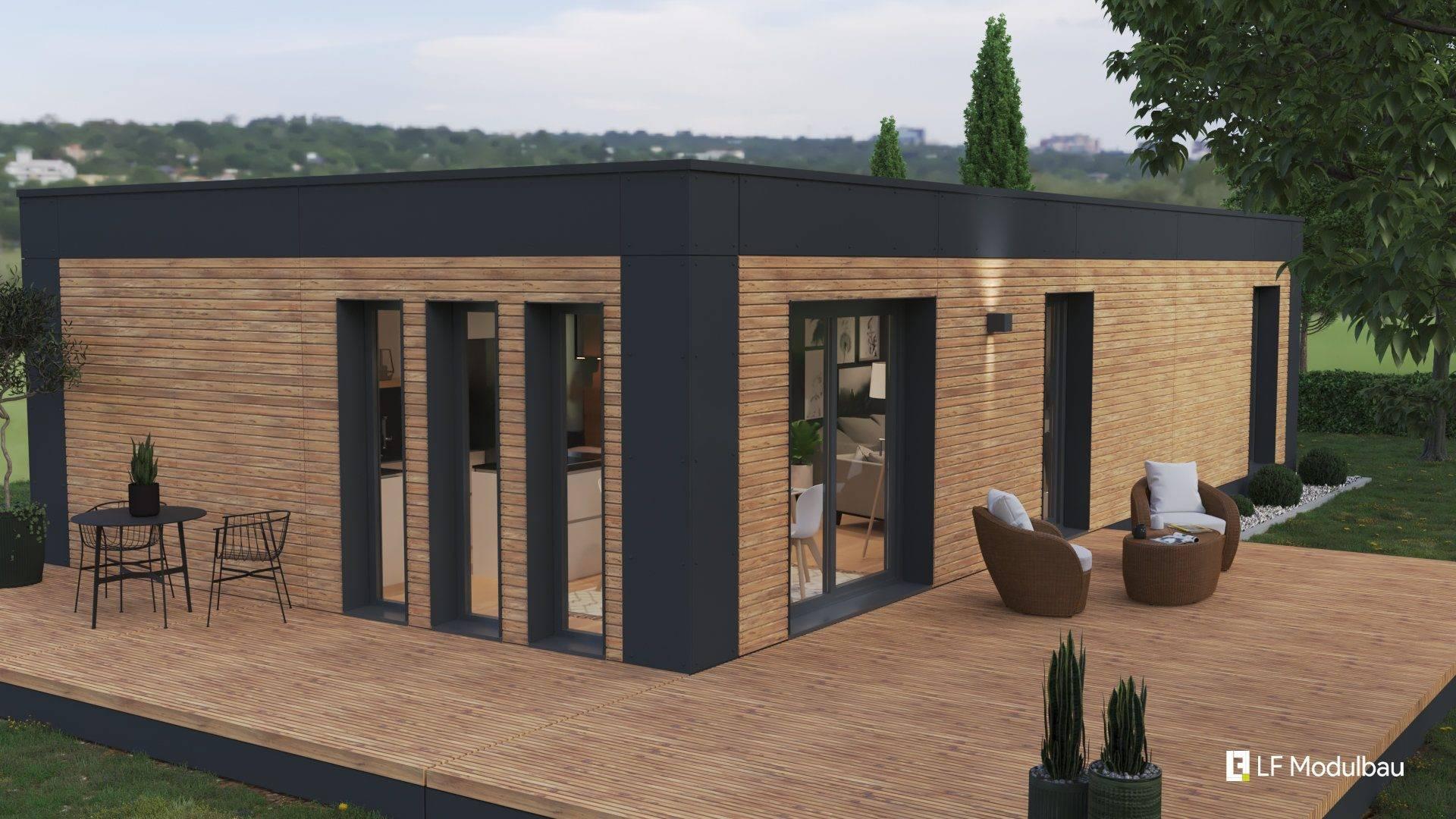 Die Ausstattungsvariante Black unseres Fertighauses in modulbauweise - LF Home I