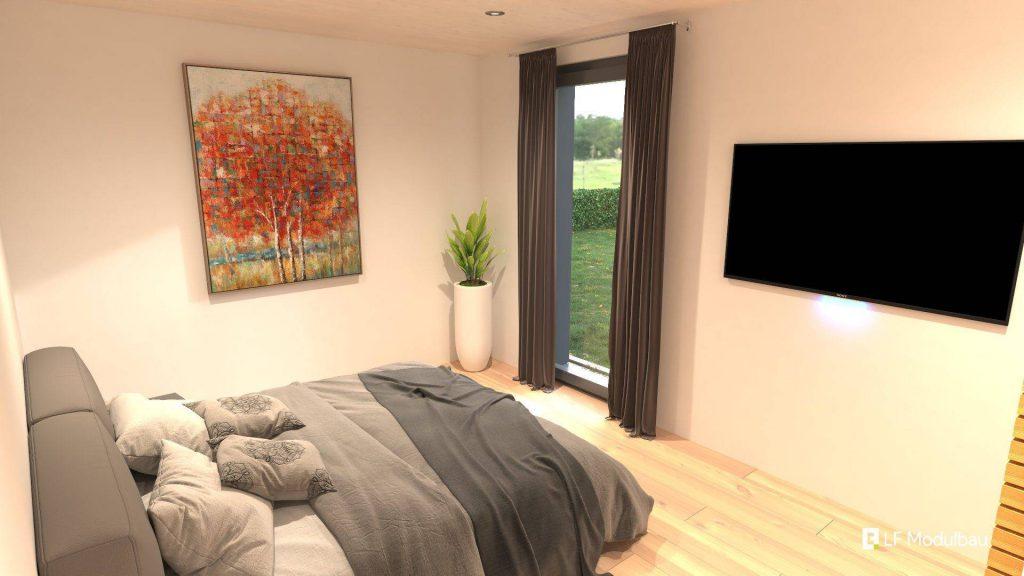 Das Schlafzimmer unseres Fertighauses in modulbauweise - LF Home II