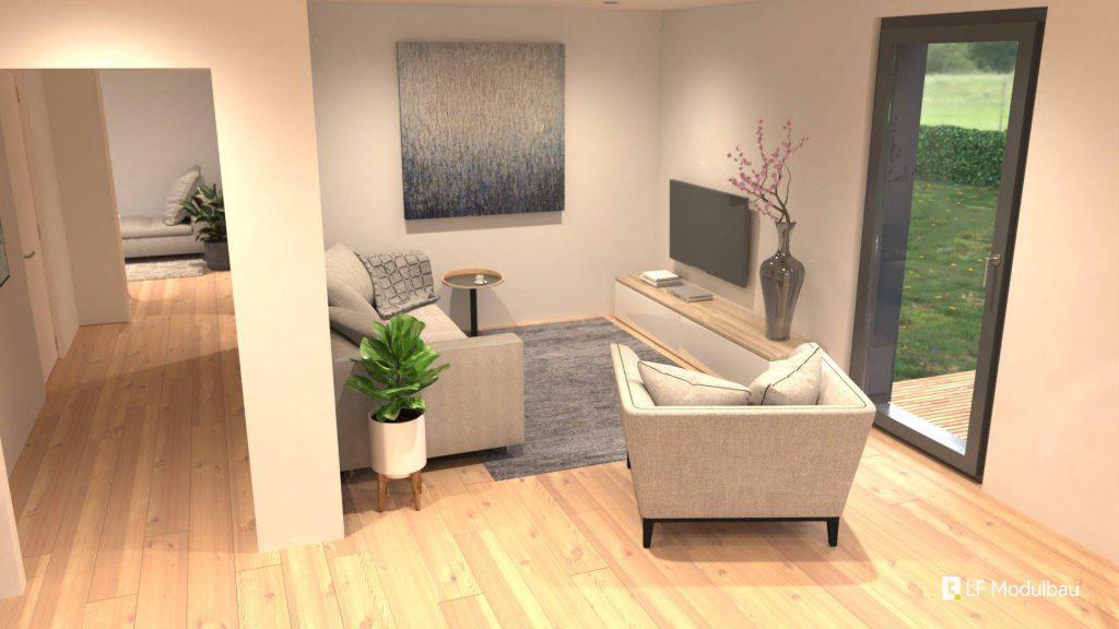 Das Wohnzimmer unseres Fertighauses in modulbauweise - LF Home II